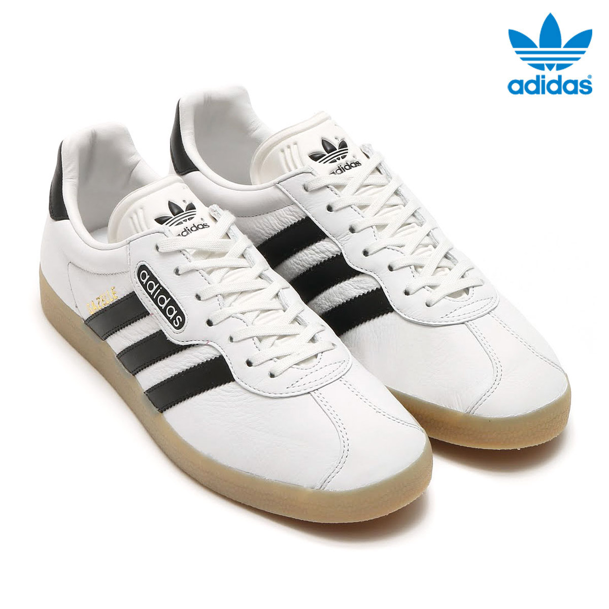 white leather adidas gazelle