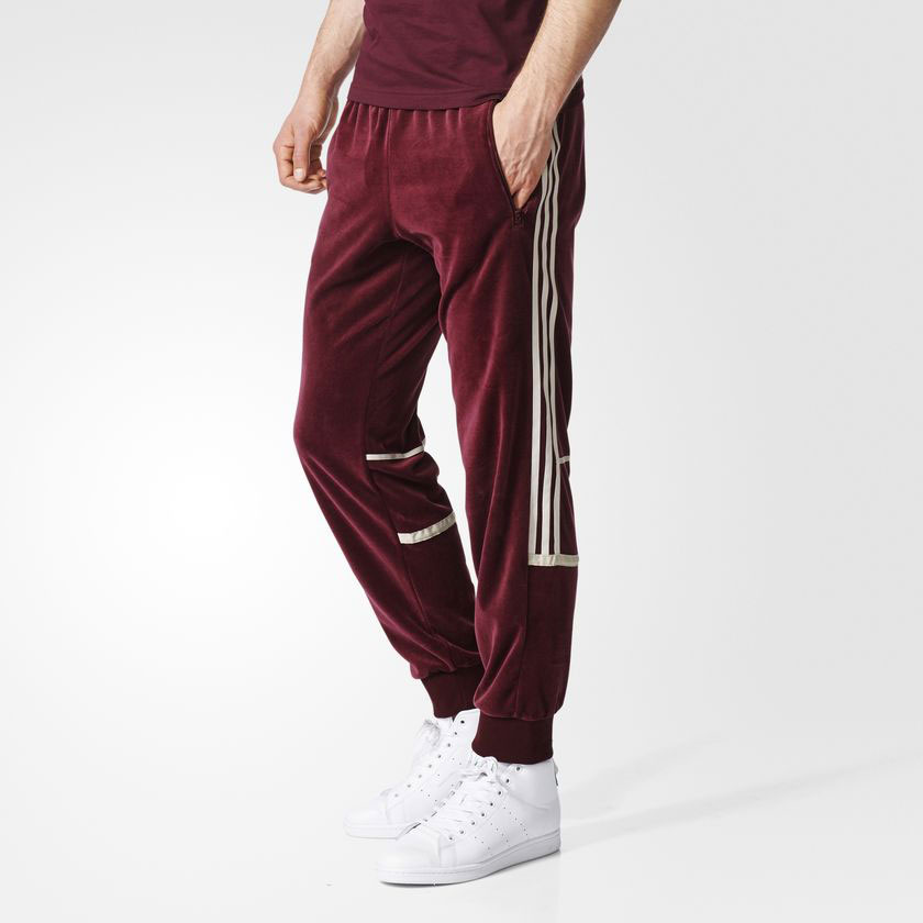 uk store get new shades of adidas Originals CHALLENGER VELOUR TRACKPANTS(愛迪達原始物挑戰者天鵝絨運動褲)Maroon 17FW-I