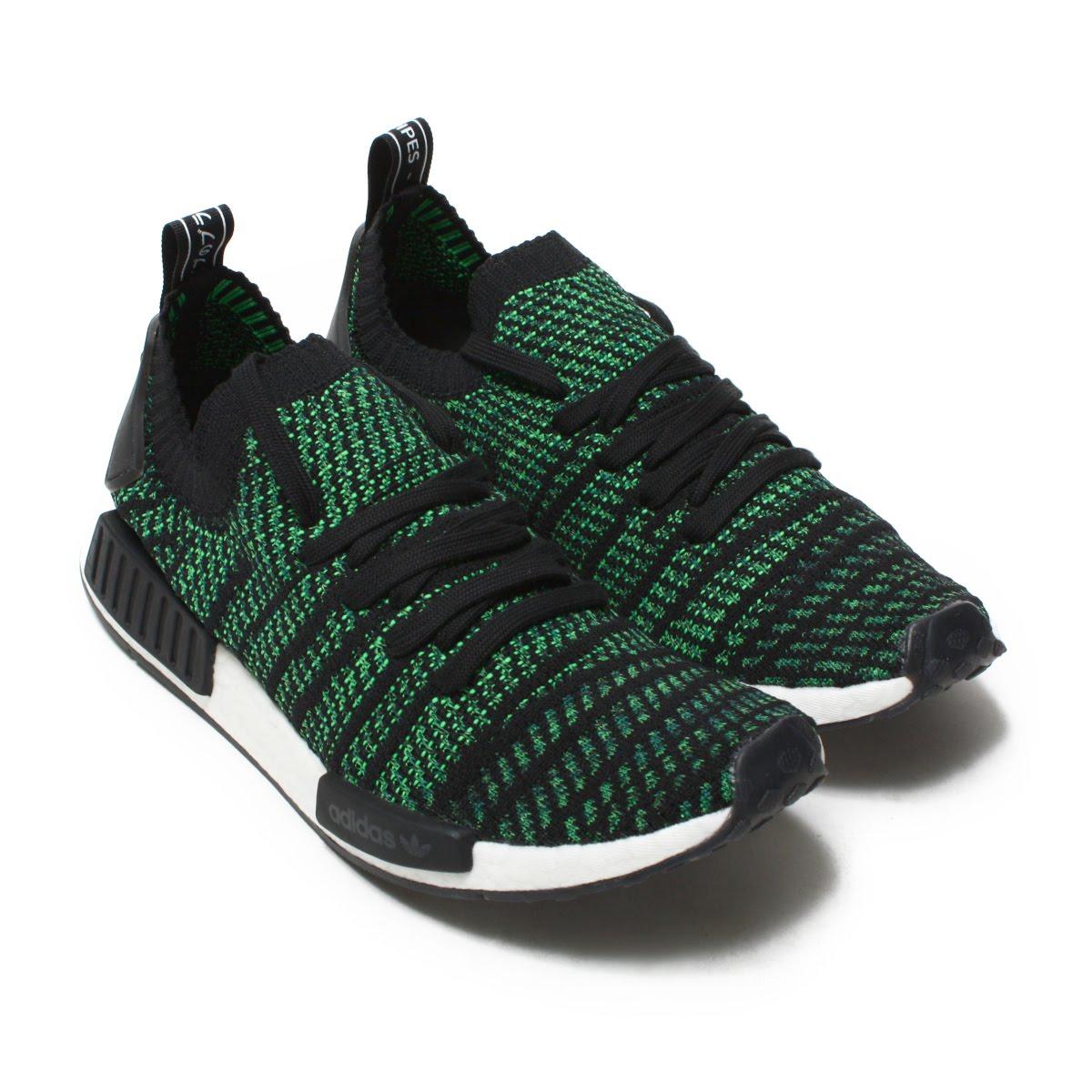 check out 01cef e380f adidas Originals NMD R1 STLT PK (Adidas originals N M D TS1 PK GTX) Core  Black/Noble Green/Bold Green 18FW-I