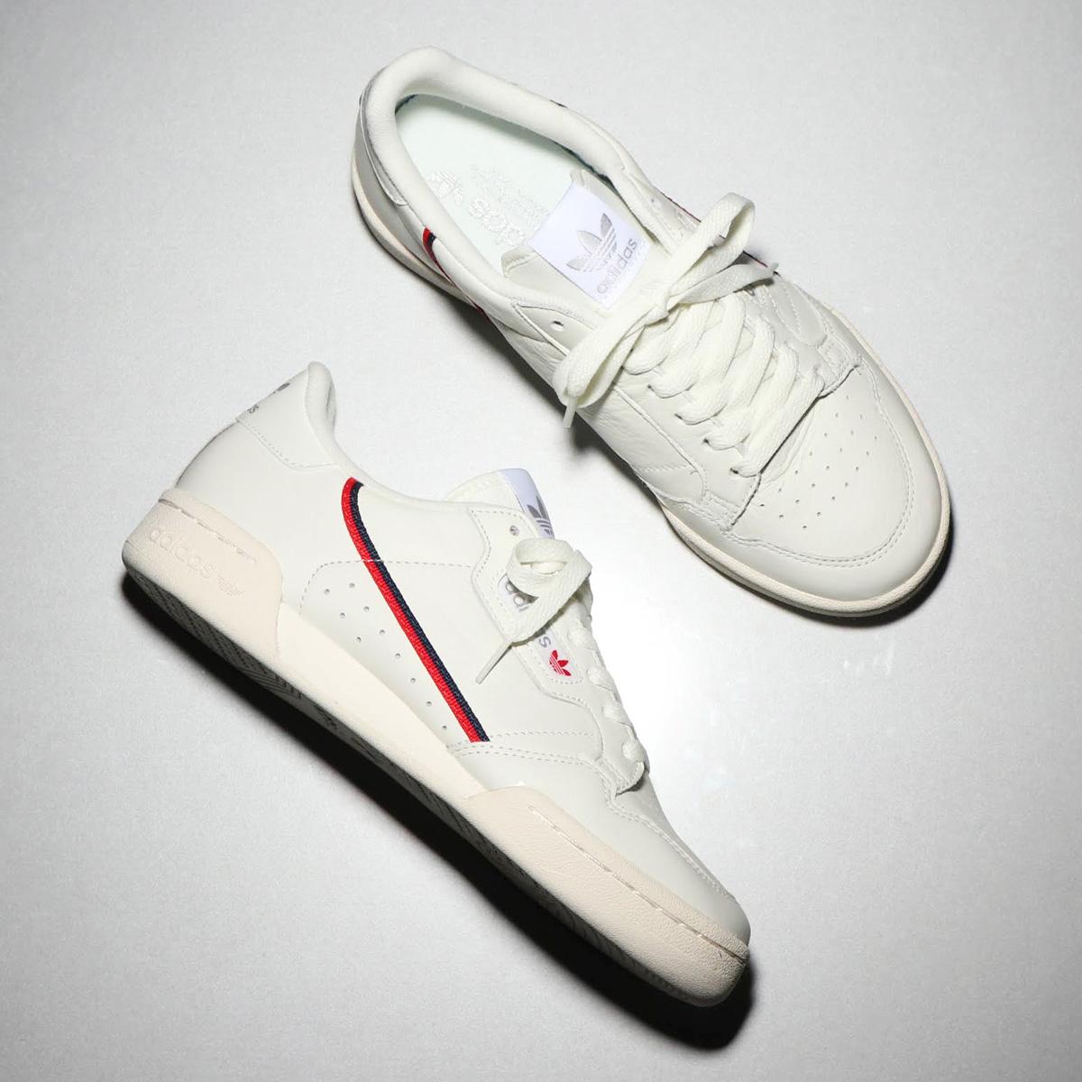 adidas originals continental 80 (adidas originals continental 80) beige / cremefarbig / scarlet 18fw ich
