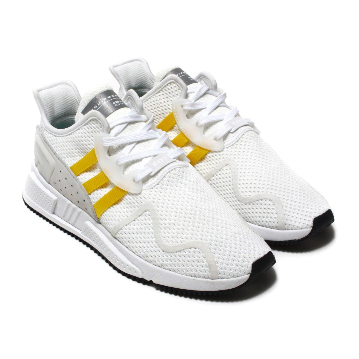 b9a8e1b24b3d6 adidas Originals EQT CUSHION ADV (Adidas originals E cue tea cushion ADV)  Running White/Eqt Yellow/Silver Met 18SS-I