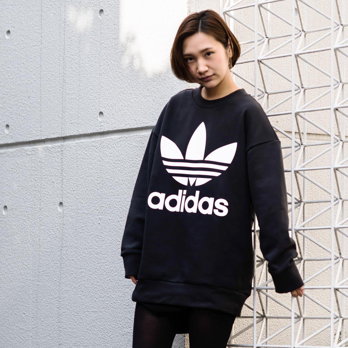adidas Originals TREFOIL OVERSIZED CREW (アディダス オリジナルス トレフォイル オーバーサイズクルー) Black【メンズ スウェット】18SS-I