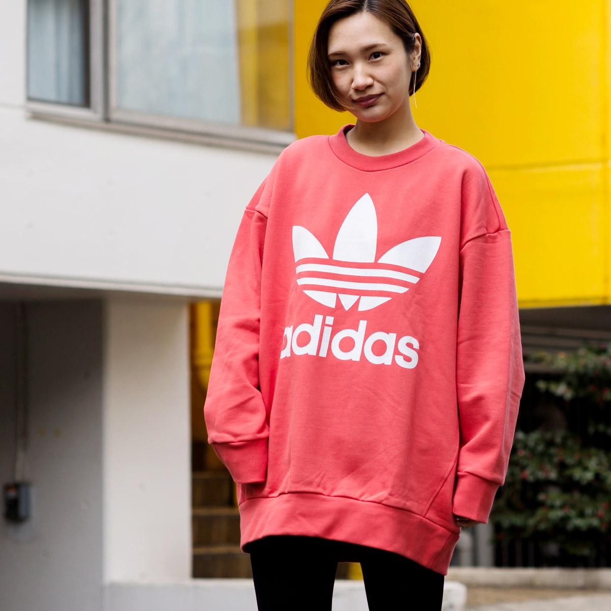 adidas Originals TREFOIL OVERSIZED CREW(アディダス オリジナルス トレフォイル オーバーサイズクルー)Trace Scarlet【メンズ】18SS-I