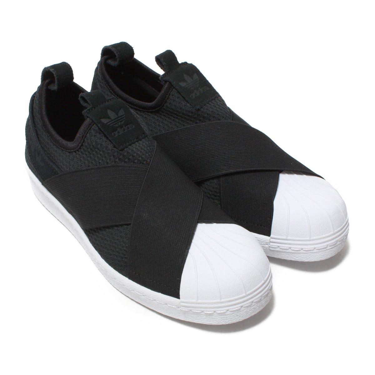 adidas superstar black and white slip on