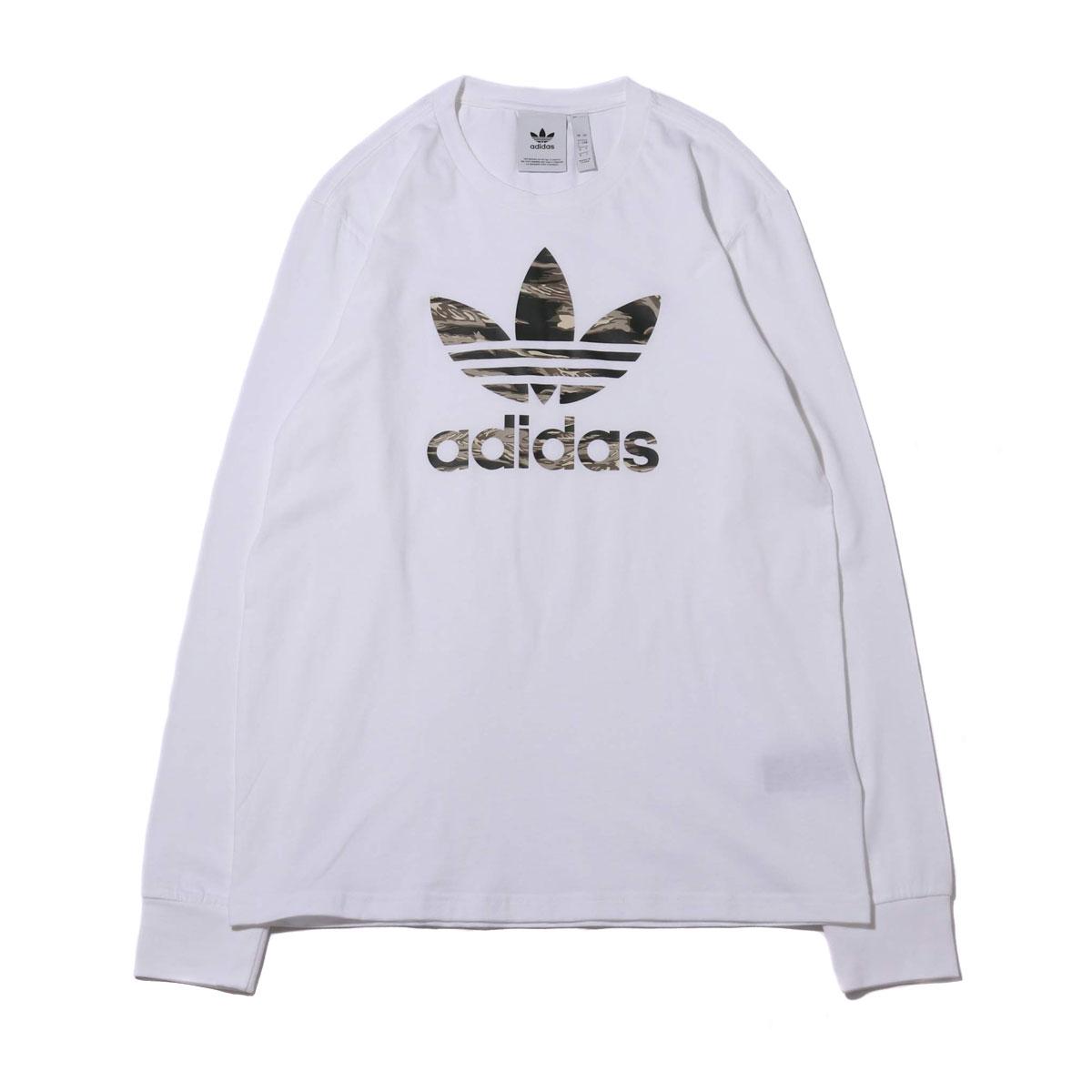 adidas CAMO TREFOIL LS TEE(アディダス カモ トレフォイル ロングスリーブ Tシャツ)WHITE【メンズ 長袖Tシャツ】19FW-I