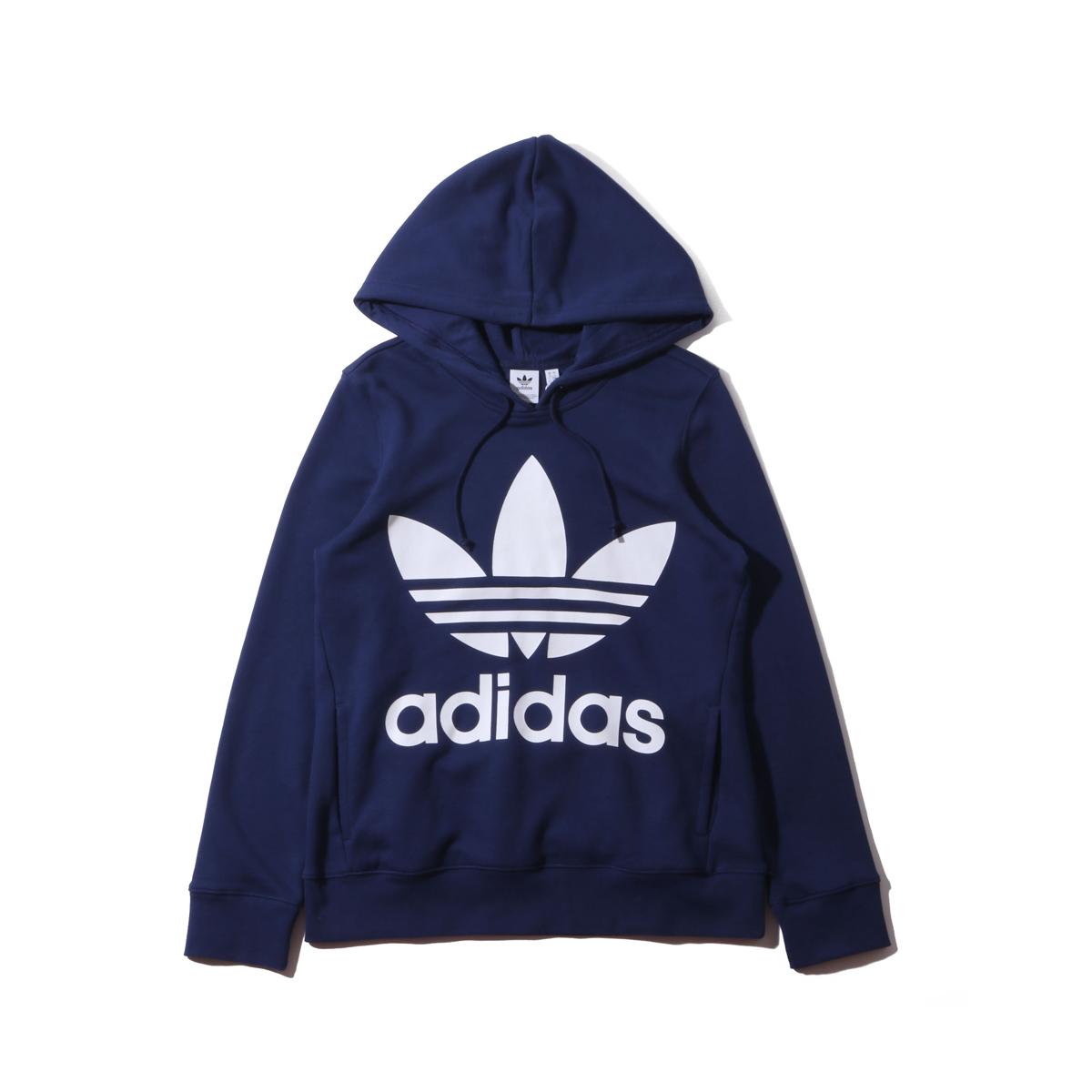 adidas Originals TREFOIL HOODIE(アディダスオリジナルス トレフォイル フーディー)DARK BLUE【レディース パーカー】19SS-I