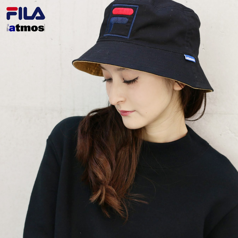 Fila×Atmos REVERSIBLE BUCKET HAT (Fila x Atmos reversible bucket Hat) BLACK  15FW-S eac39aeac9f8