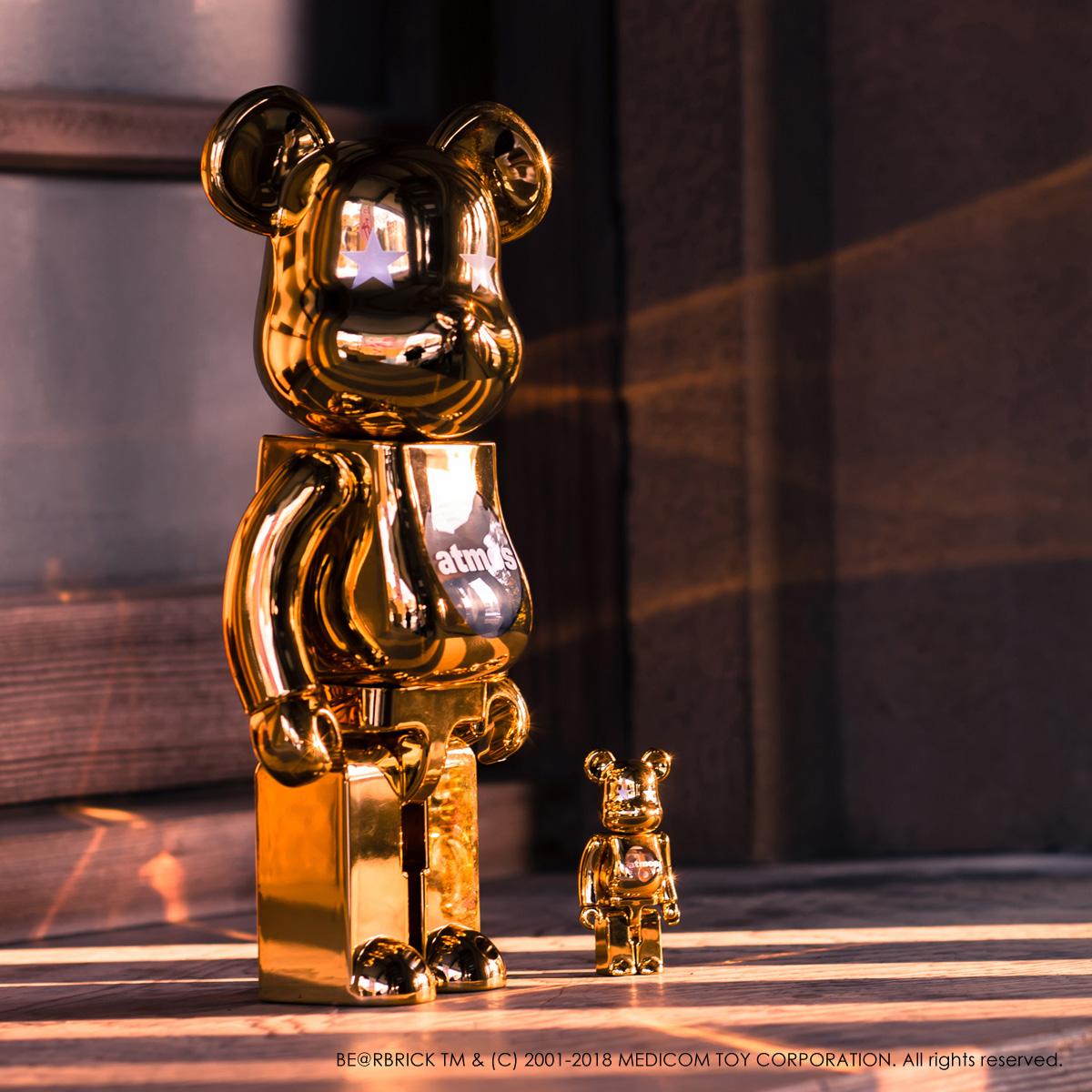 BE@RBRICK atmos GOLD CHROME 100% & 400%(ベアブリック アトモス)