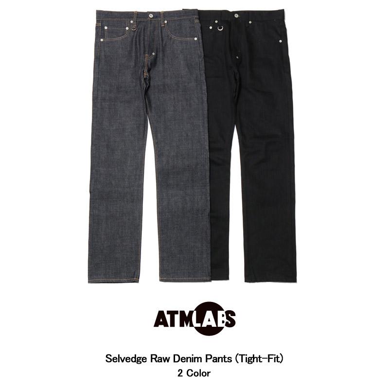 ATMOS LAB MENS Selvedge Raw Denim Pants (Tight-Fit)(アトモス ラボ セルヴィッジ ロー デニム パンツ)2色展開【タイト】【メンズ】【ジーンズ】【スリムフィット】【岡山】【日本製】15FW-I