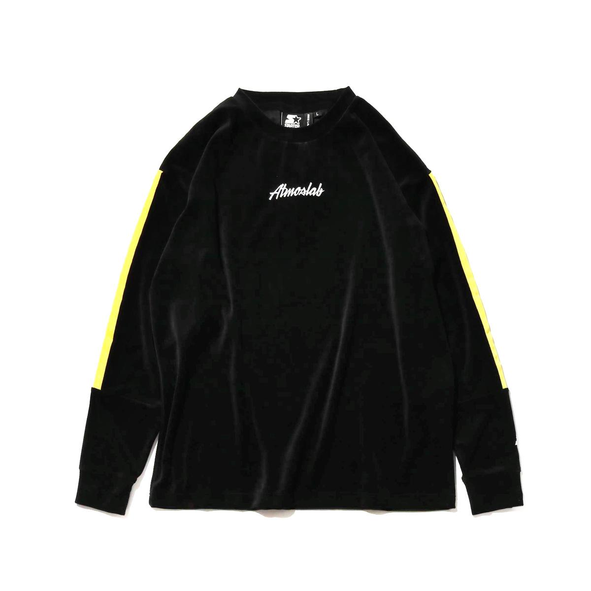 STARTER BLACK LABEL x ATMOS LAB WARM UP VELOUR LONG SLEEVE(スターター ブラックレーベル アトモスラボ ウォームアップ ベロア ロングスリーブ)yellow【メンズ 長袖Tシャツ】18FW-S