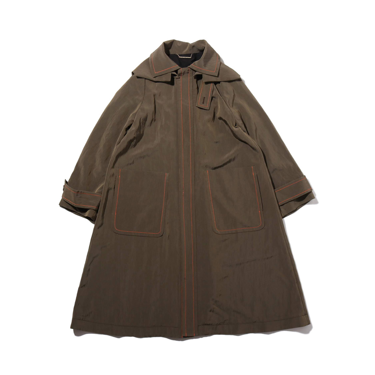 atmos pink 配色ステッチ ロングコート(アトモスピンク ハイショクステッチ ロングコート)KHAKI【レディース コート】18FW-I