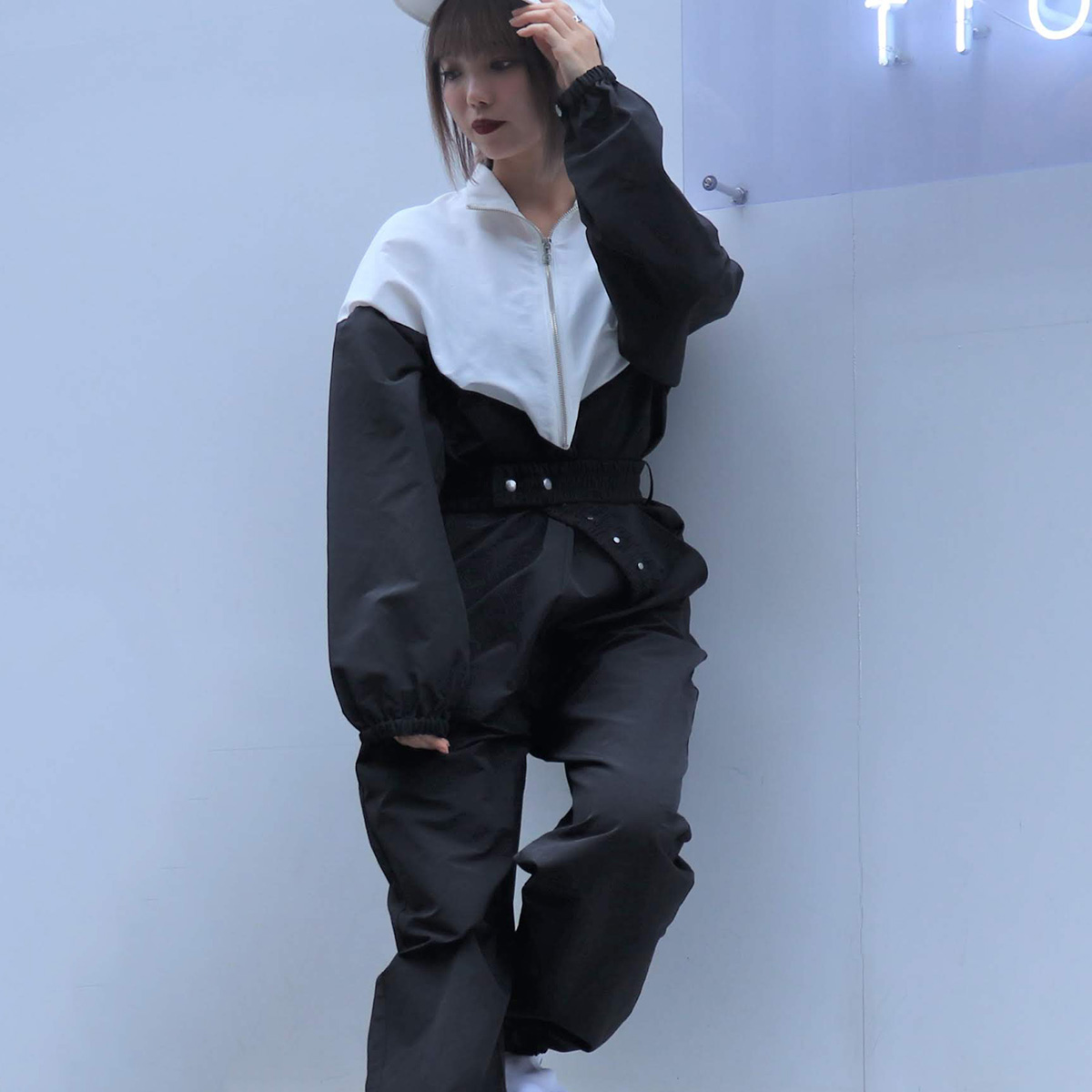 atmos pink 切替コンビネゾン(アトモスピンク キリカエコンビネゾン)BLACK【レディース パンツ】19FA-I