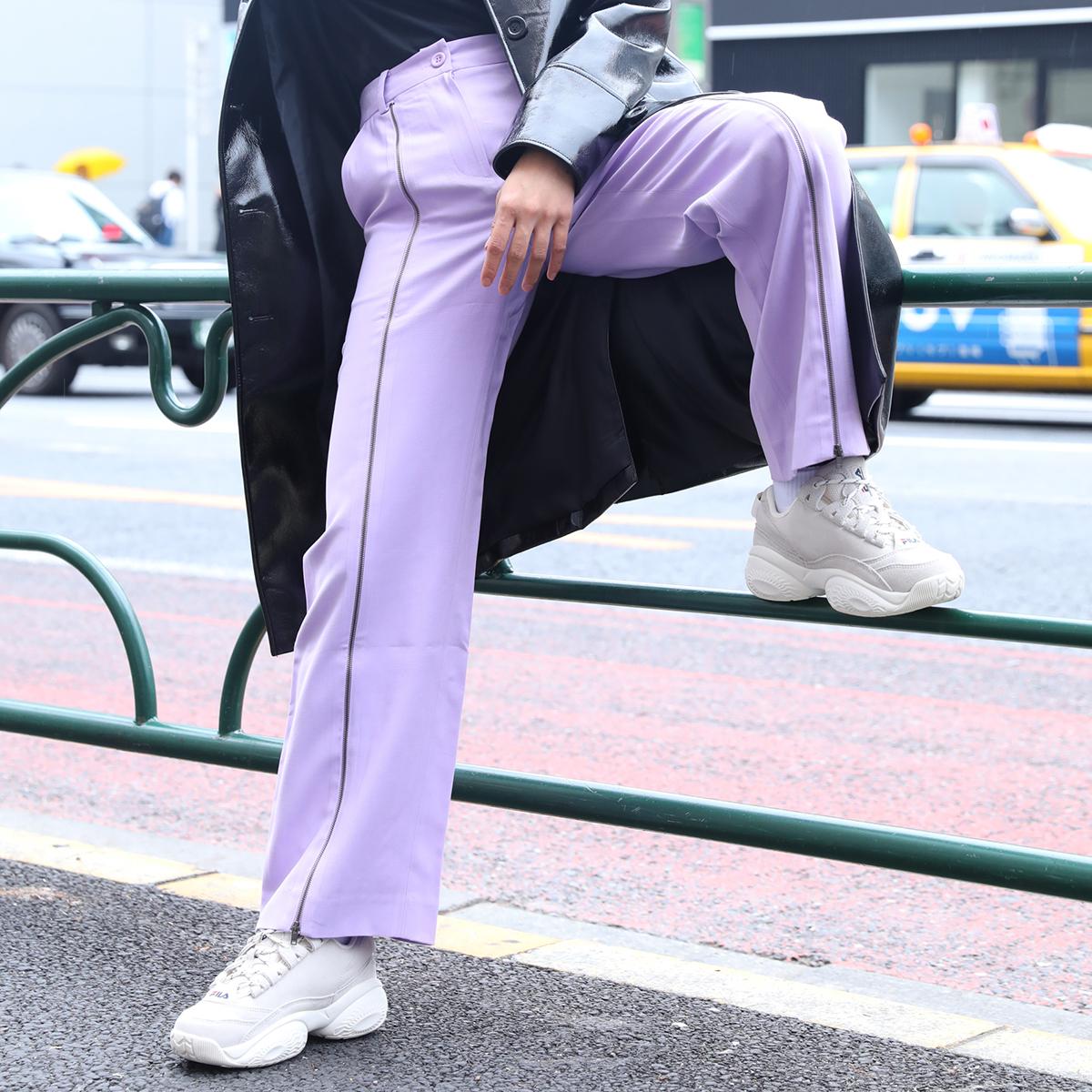 atmos pink ジップスリット パンツ(アトモスピンク ジップスリット パンツ)PURPLE【レディース ロングパンツ】19FA-I