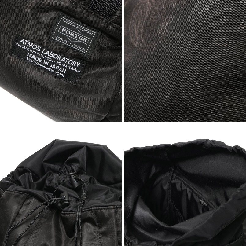 Porter×Atmos LAB PAISLEY RUCK SACK (Porter x Atmos lab Paisley backpack) BLACK 16HO-S