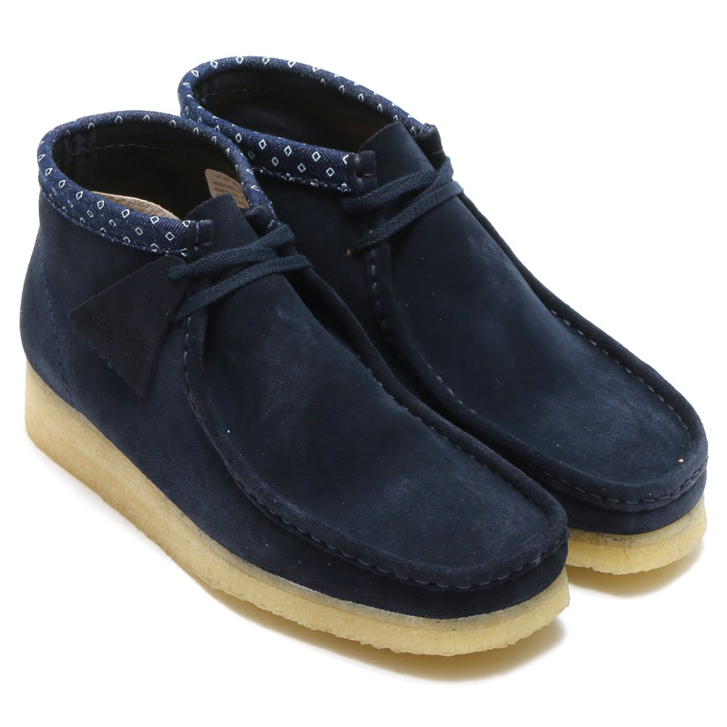 Clarks Originals DESERT WALLABEE BOOT (オリジナルス 이랑 디저트 왈 라비 부츠) Navy Multi Suede