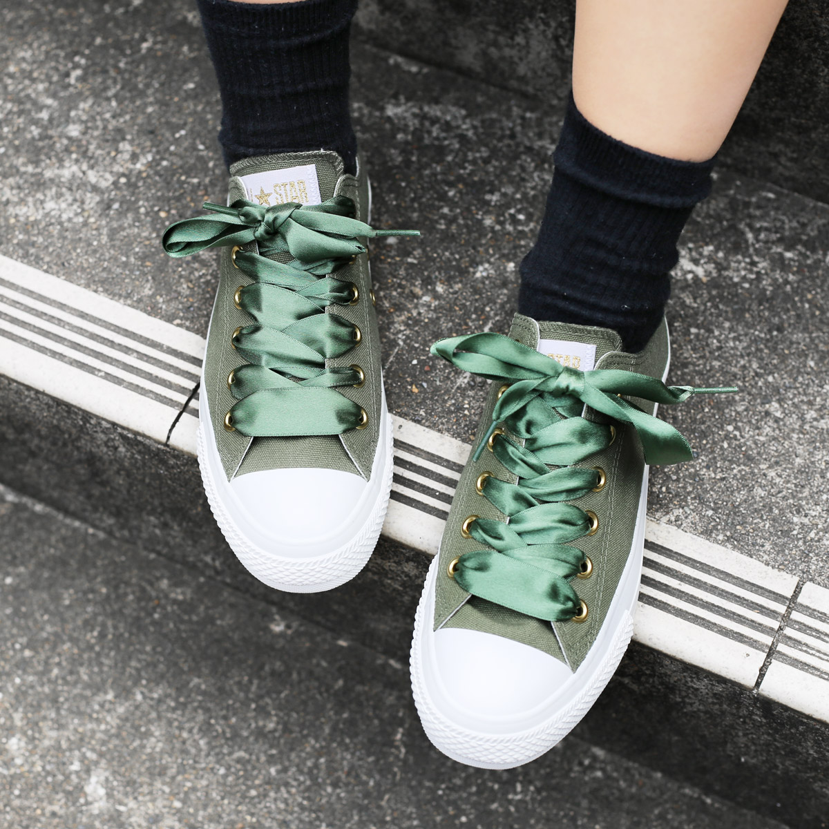 dd7531a80697 CONVERSE ALL STAR PLTS SATINPOINT OX (Converse all-stars PLTS satin point OX)  khaki 18SP-I