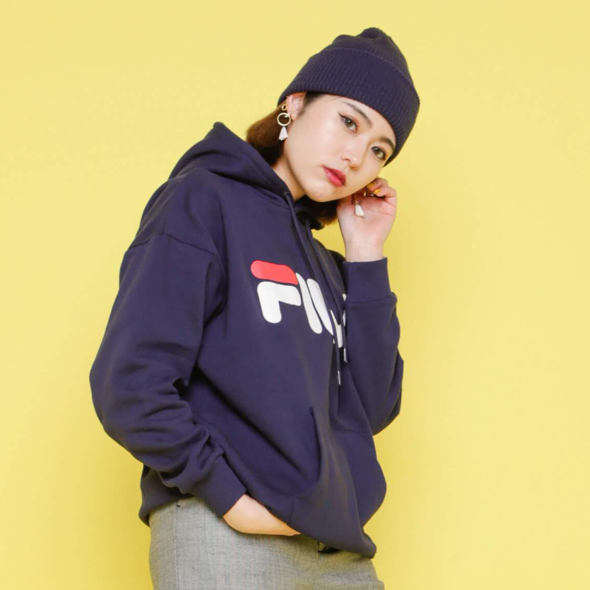 ★SALE ★ FILA Pullover Food (Fila pullover food) NAVY 18FW I