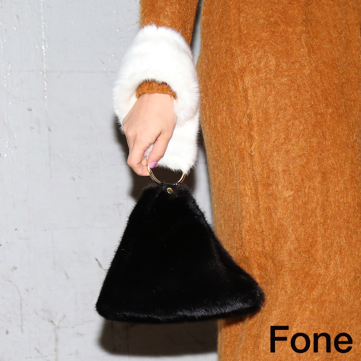 Fone フェイクファー配色 クラッチバッグ(エフワン フェイクファー配色 クラッチバッグ)WHITE×BLACK【レディース テトラバッグ】17FA-I