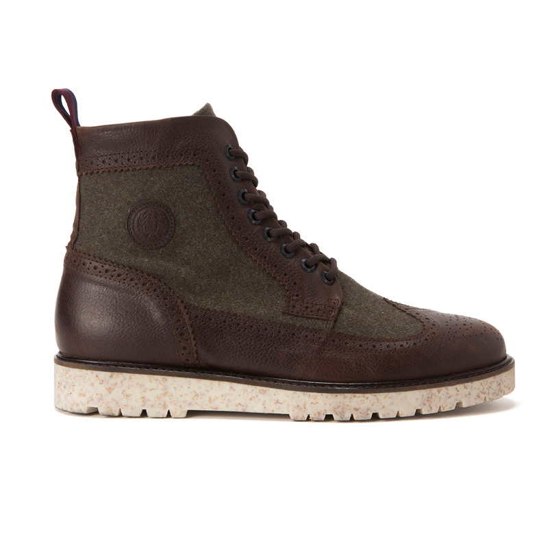 FRED PERRY NORTHGATE BOOT LEATHER/WOOL (Fred Perry Northgate boots) (DK CHOCOLATE) 16 FW-I