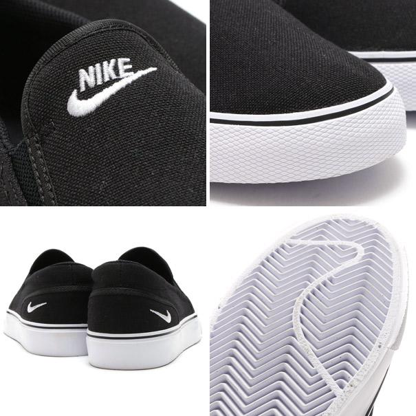 NIKE WMNS TOKI SLIP CANVAS (women's Nike Toki slips canvas) BLACK/WHITE 16SU-I