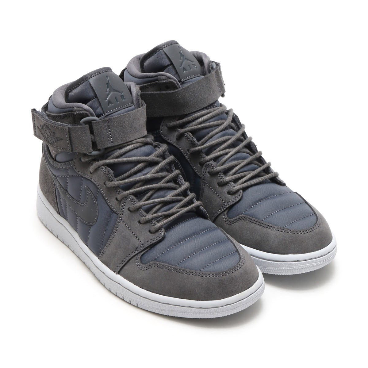 NIKE AIR JORDAN 1 HIGH STRAP(ナイキ エア ジョーダン 1 ハイ ストラップ)(DARK GREY/DARK GREY-PURE PLATINUM)17HO-S