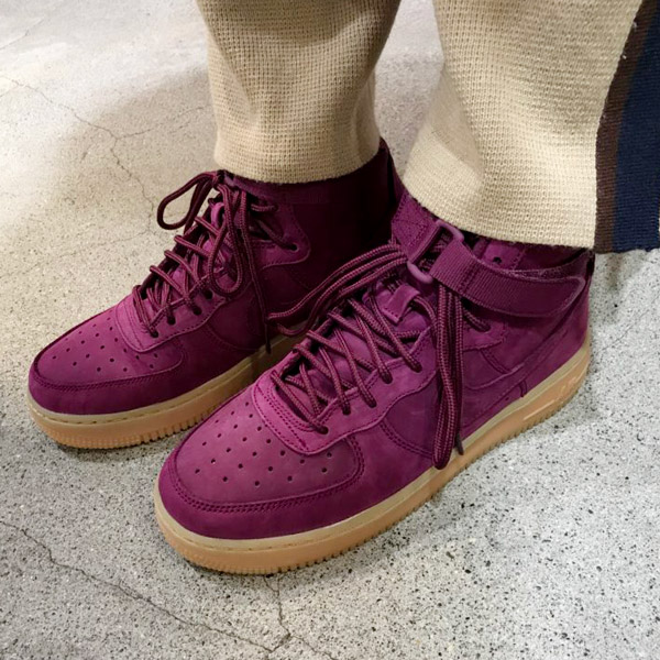 NIKE AIR FORCE 1 HIGH WB (GS)(ナイキ エア フォース 1 ハイ WB GS)BORDEAUX/BORDEAUX-GUM LIGHT BROWN-BLACK【メンズ レディース スニーカー】17HO-I