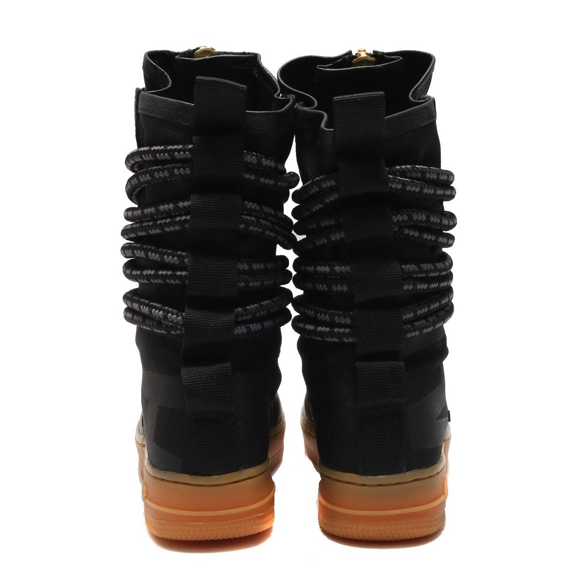 NIKE W SF AF1 HI (Nike women special field air force 1 high) (BLACK/BLACK- GUM LIGHT BROWN) 17HO-S