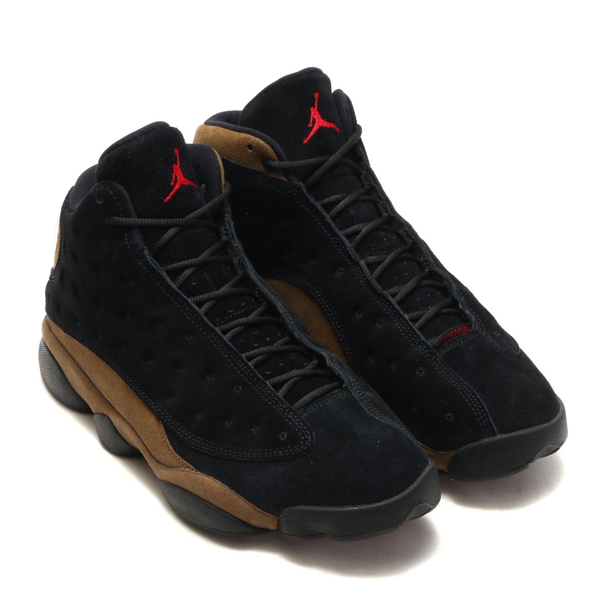 NIKE AIR JORDAN 13 RETRO (nostalgic Nike Air Jordan 13) (BLACK GYM RED-LIGHT  OLIVE-WHITE) 18SP-S d56e186c9