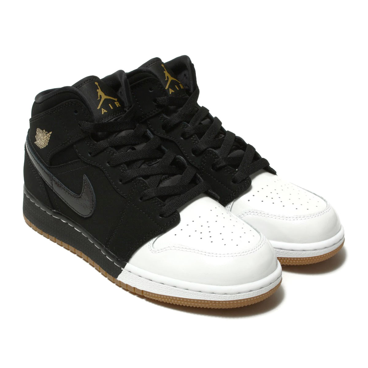 3f0c31ae32 NIKE AIR JORDAN 1 MID GG (Nike Air Jordan 1 mid GG) BLACK/METALLIC  GOLD-WHITE-GUM MED BROWN 18SP-I