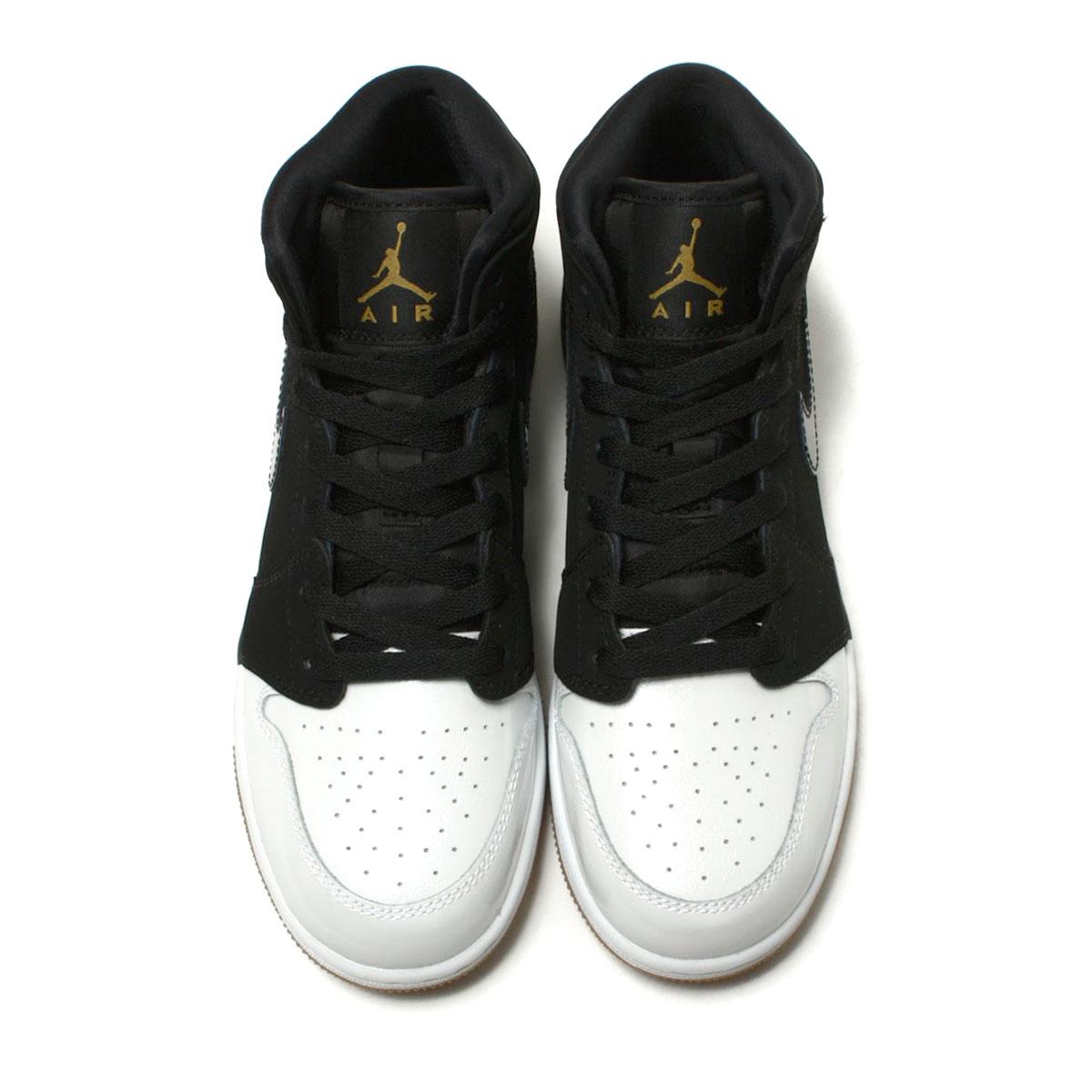 new concept e24a7 9f377 NIKE AIR JORDAN 1 MID GG (Nike Air Jordan 1 mid GG) BLACK METALLIC GOLD- WHITE-GUM MED BROWN 18SP-I