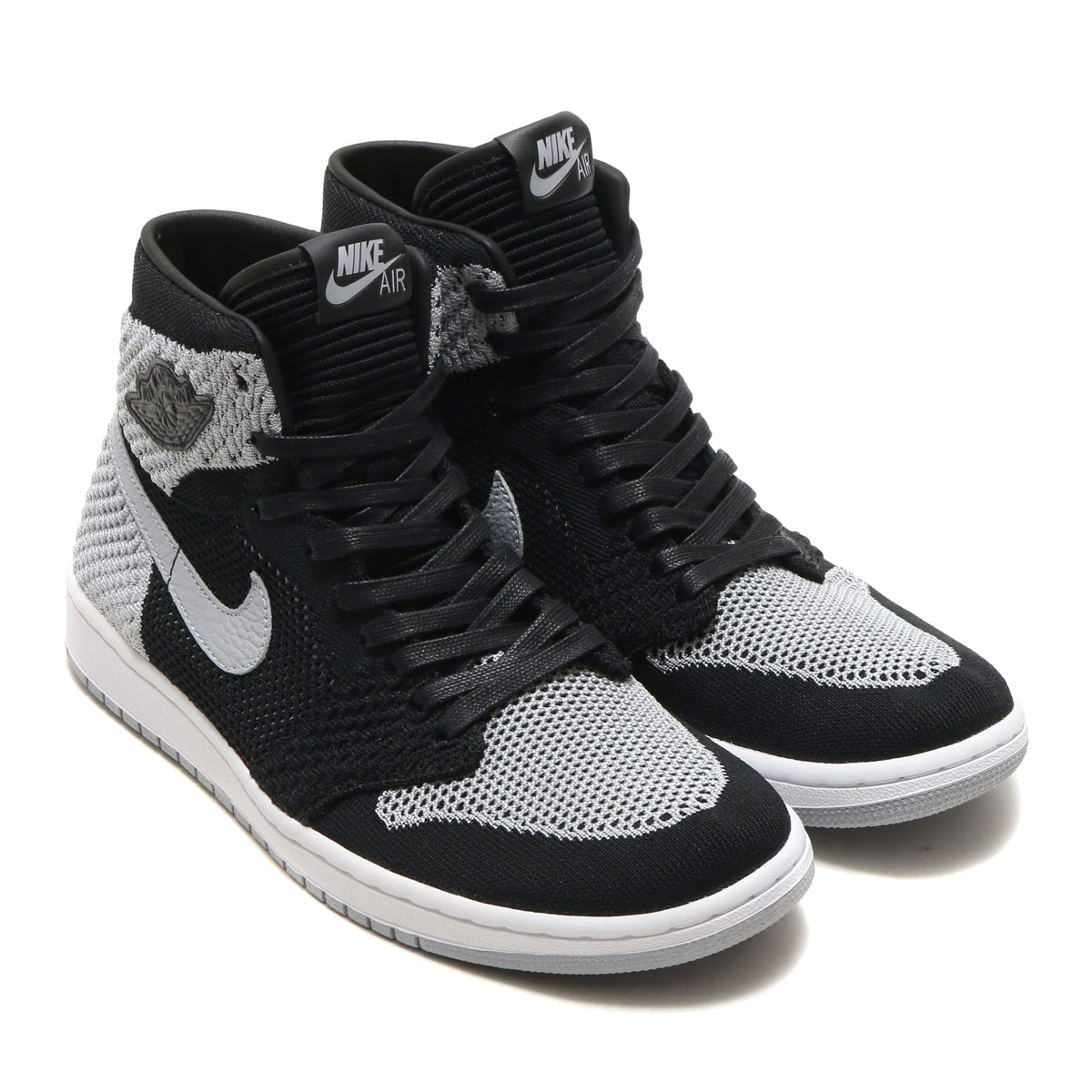 d312b01a387 NIKE AIR JORDAN 1 RETRO HI FLYKNIT (Nike Air Jordan 1 nostalgic high fried  food knit) (BLACK WOLF GREY-WHITE) 18SP-S