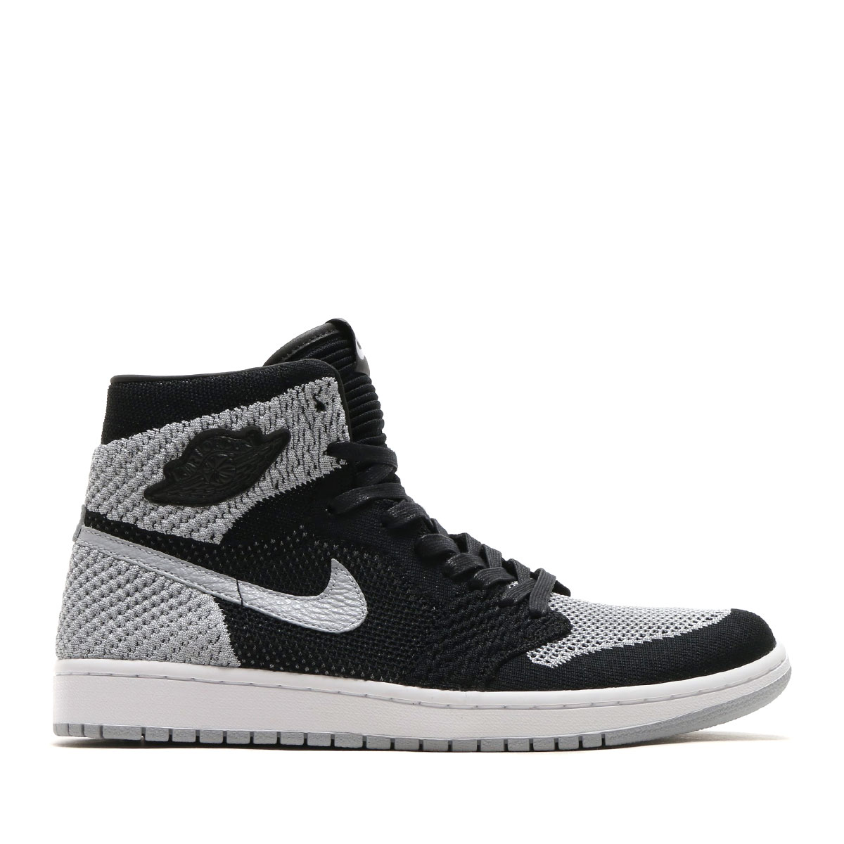 9e4ace4a105aa NIKE AIR JORDAN 1 RETRO HI FLYKNIT (Nike Air Jordan 1 nostalgic high fried  food knit) (BLACK WOLF GREY-WHITE) 18SP-S