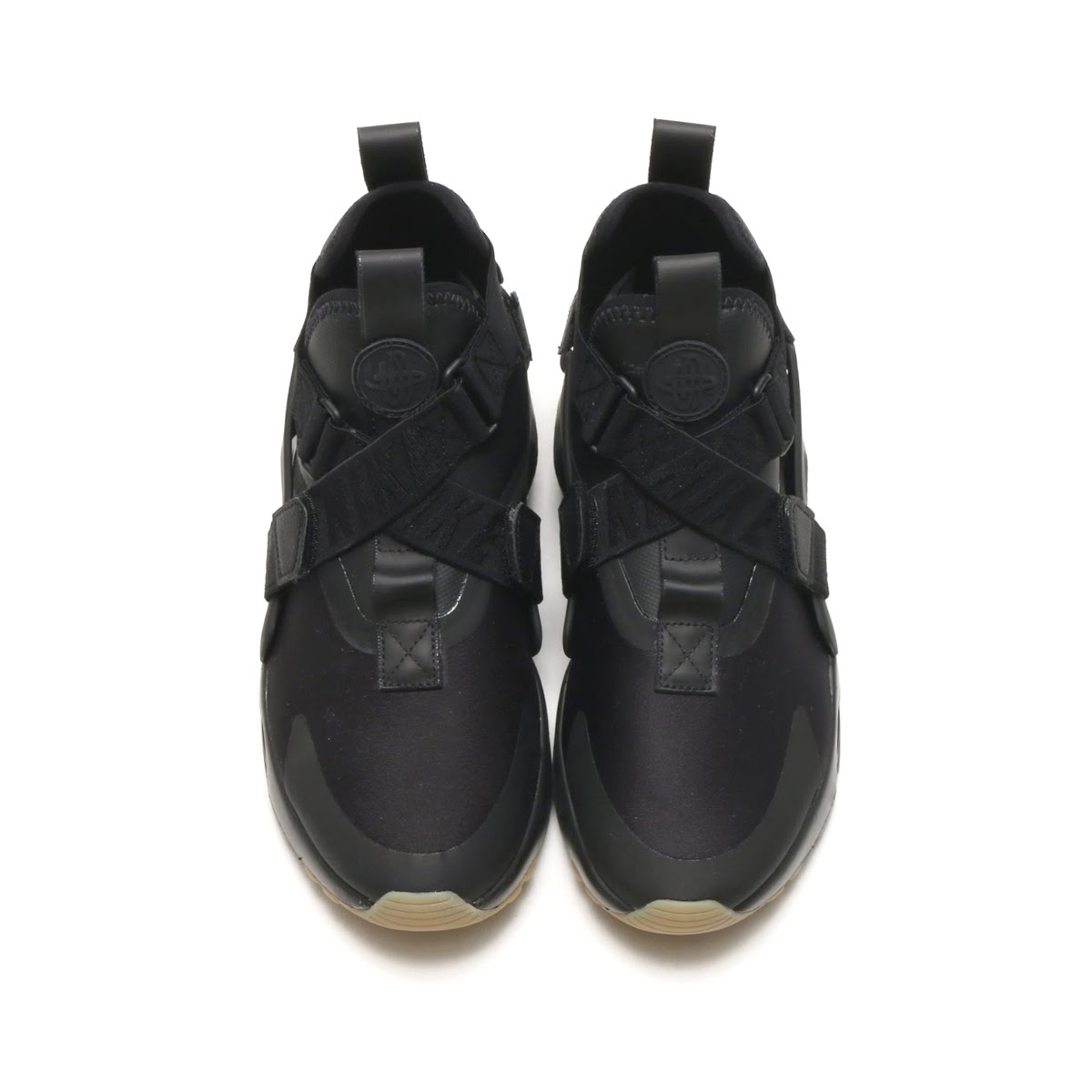 NIKE W AIR HUARACHE CITY (ナイキウィメンズエアハラチシティー) (BLACK/BLACK-DARK GREY-GUM  LIGHT BROWN) 18SP-S