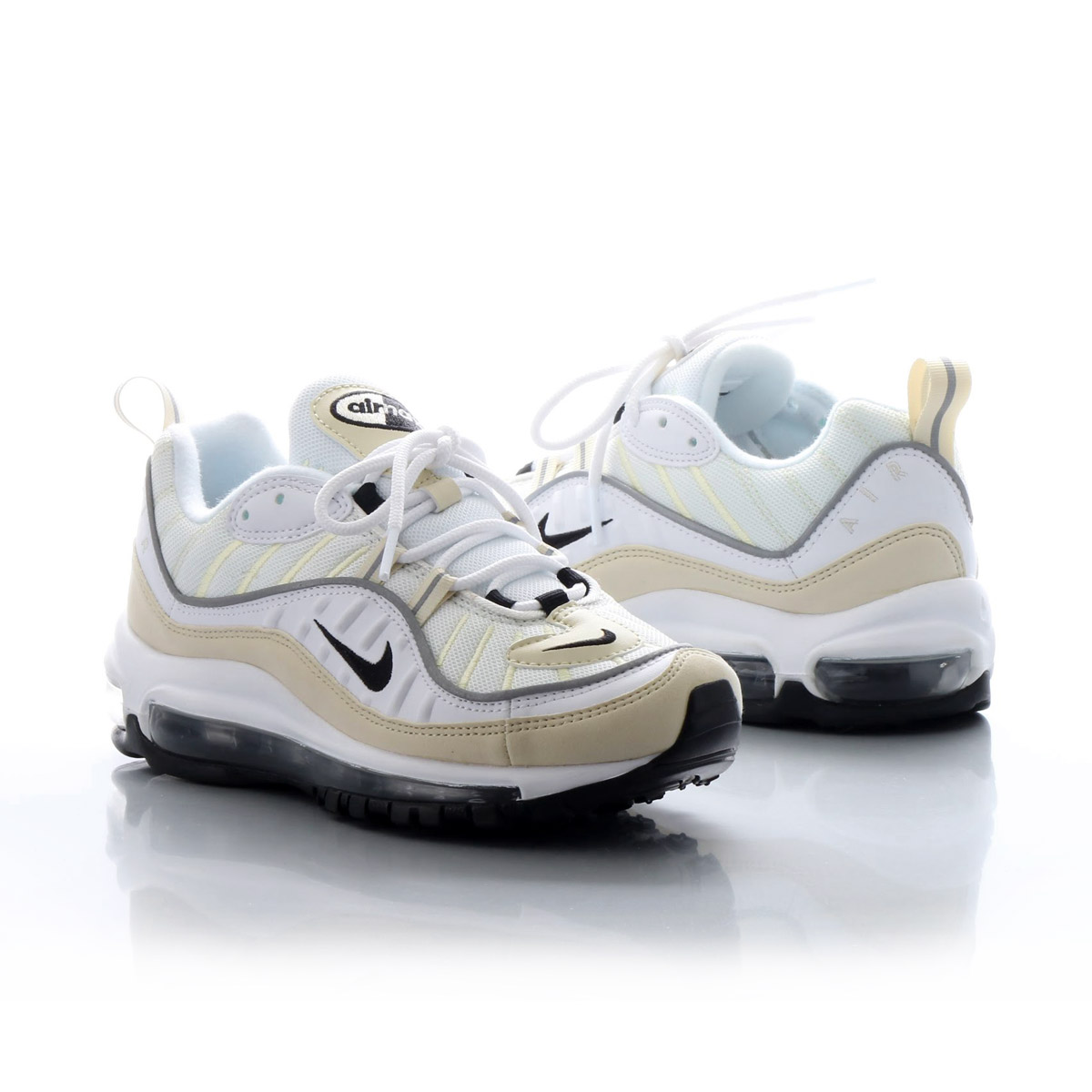 lowest price 329b3 433ae NIKE W AIR MAX 98 (Nike women Air Max 98) (WHITE BLACK-FOSSIL-REFLECT  SILVER)