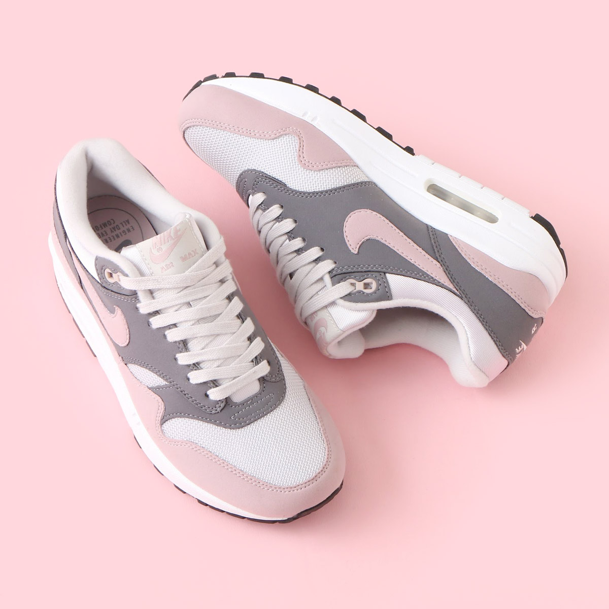 separation shoes 6703a 1434b NIKE WMNS AIR MAX 1 (Nike women Air Max 1) (VAST GREY PARTICLE  ROSE-GUNSMOKE-BLACK) 18SP-S