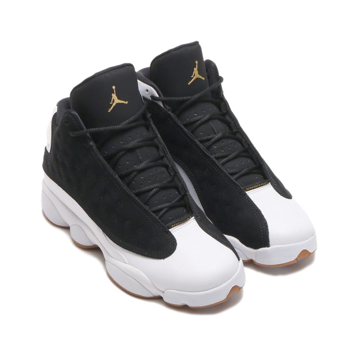 NIKE AIR JORDAN RETRO 13 GG (Nike girls Air Jordan 13 nostalgic GG) (BLACK METALLIC  GOLD-WHITE-GUM MED BROWN)18SP-S eb472626f728