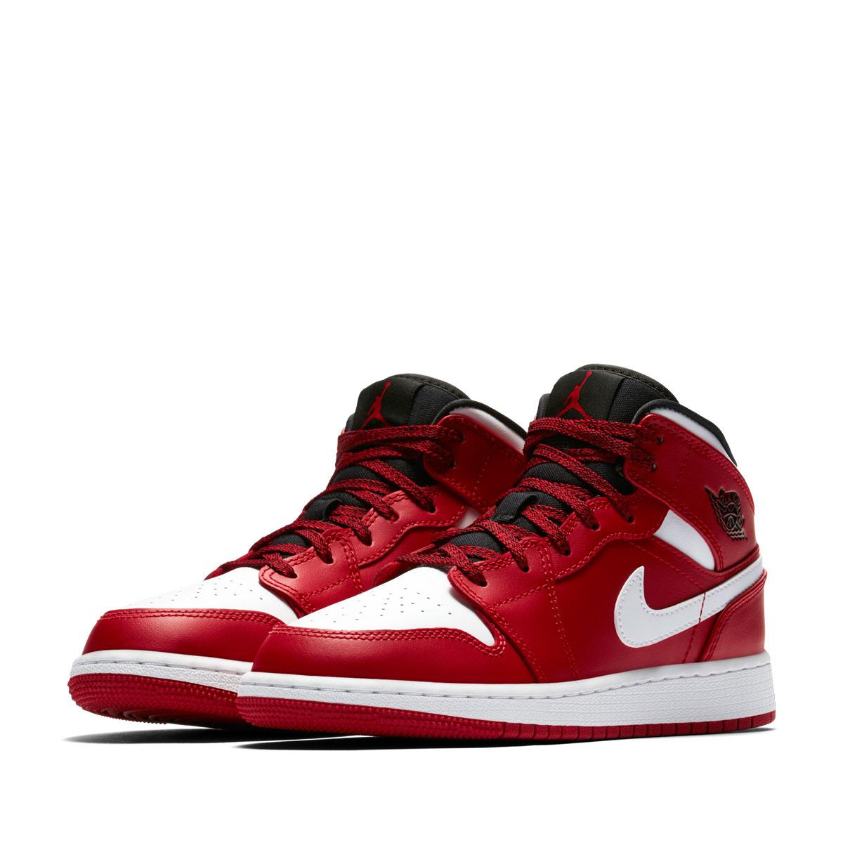 NIKE AIR JORDAN 1 MID BG (Nike Air Jordan 1 mid BG) GYM RED WHITE-BLACK  18SP-I e7113baf761e