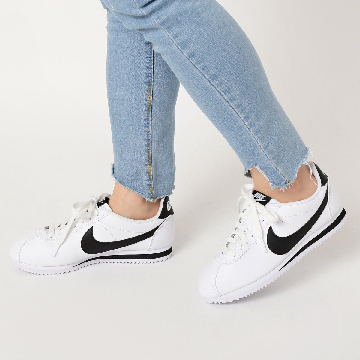 new arrival 855a7 77b06 NIKE WMNS CLASSIC CORTEZ LEATHER (Cortez Nike womens classic leather) WHITE  BLACK-WHITE 16HO-I