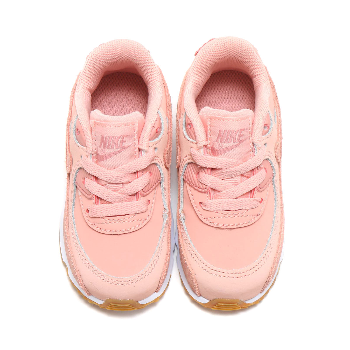 9fef51c1acaf NIKE AIR MAX 90 SE LTR (TD) (Kie Ney AMAX 90 SE leather TD) (CORAL STARDUST RUST  PINK-WHITE) 18SP-I