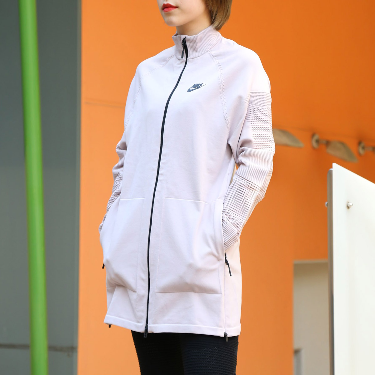 ef3d547c641b0a NIKE AS W NSW TCH KNT JKT (Nike women technical center knit jacket) (PARTICLE  ROSE BLACK) 18SU-S