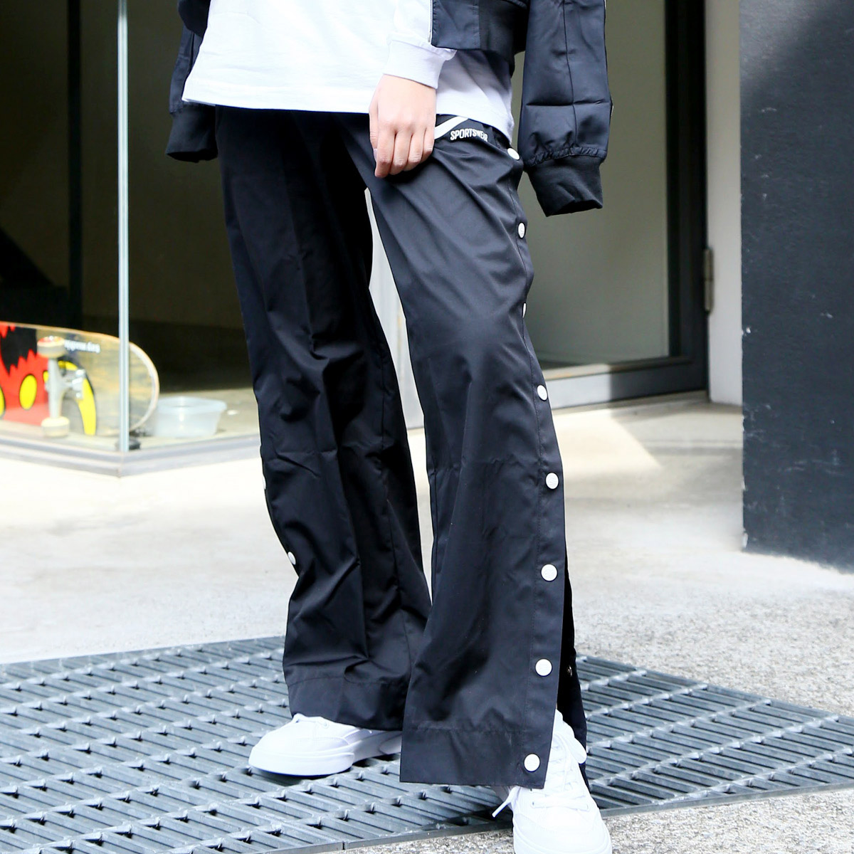 NIKE AS W NSW PANT SNAP ARCHIVE(ナイキ ウィメンズ アーカイブ スナップ パンツ)BLACK/SAIL【レディース パンツ】18SP-I