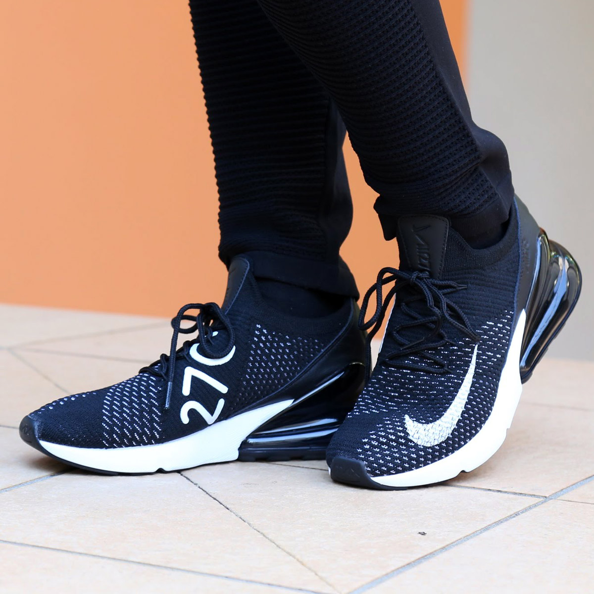 63667111b30 NIKE W AIR MAX 270 FLYKNIT (Nike women Air Max 270 fried food knit)  (BLACK WHITE-WHITE) 18SU-S