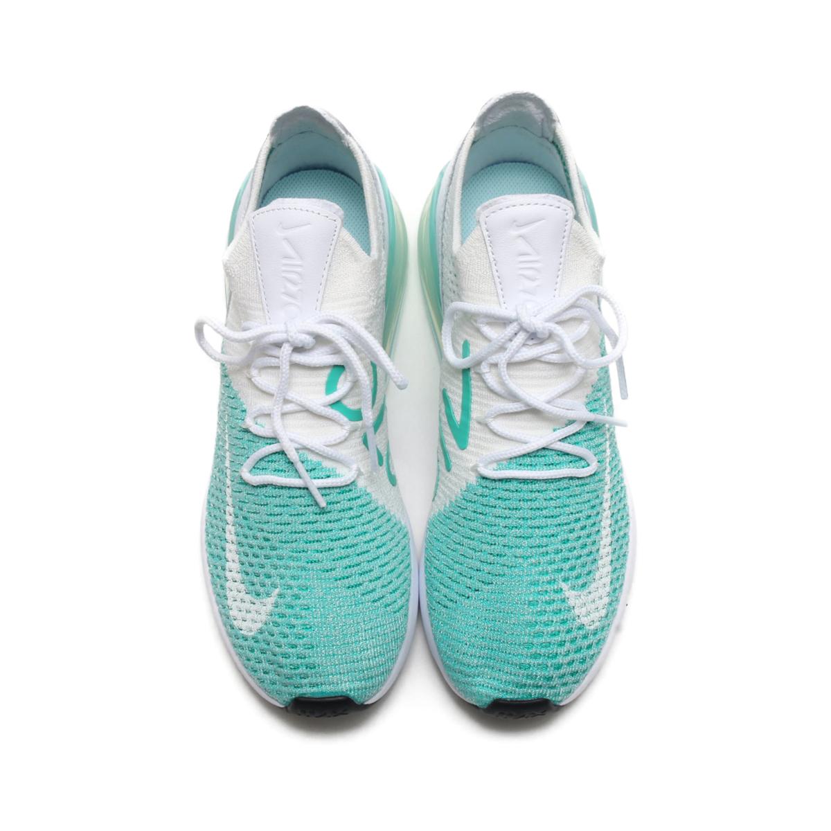 8bb04717adf53 NIKE W AIR MAX 270 FLYKNIT (Nike women Air Max 270 fried food knit) (IGLOO  WHITE-IGLOO-CLEAR EMERALD) 18SU-S