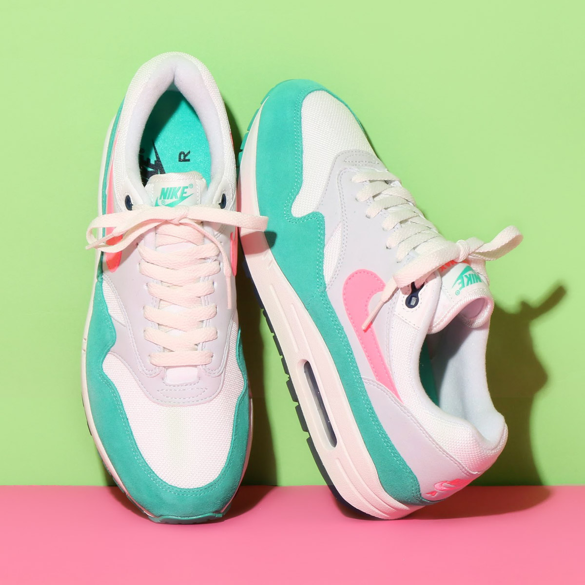 new style 27c5d 1a481 NIKE AIR MAX 1 (Kie Ney AMAX 1) (SUMMIT WHITE SUNSET PULSE-KINETIC GREEN)  18SU-S