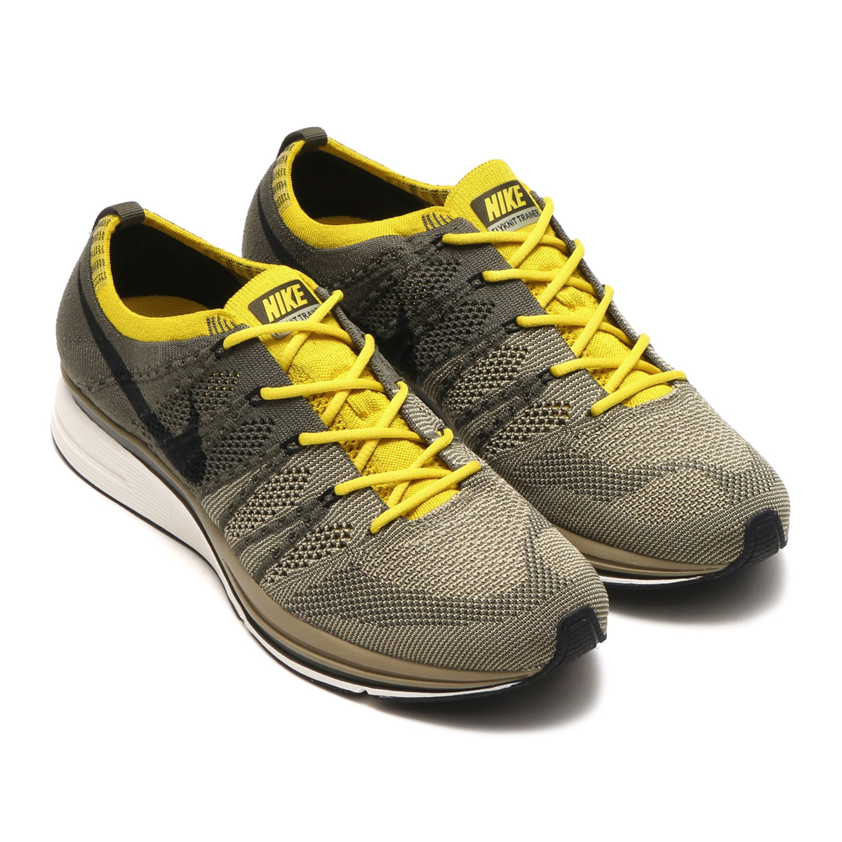 78a2e536c167 NIKE FLYKNIT TRAINER (Nike fried food knit trainer) (CARGO KHAKI BLACK-SAIL-BRIGHT  CITRON) 18SP-S