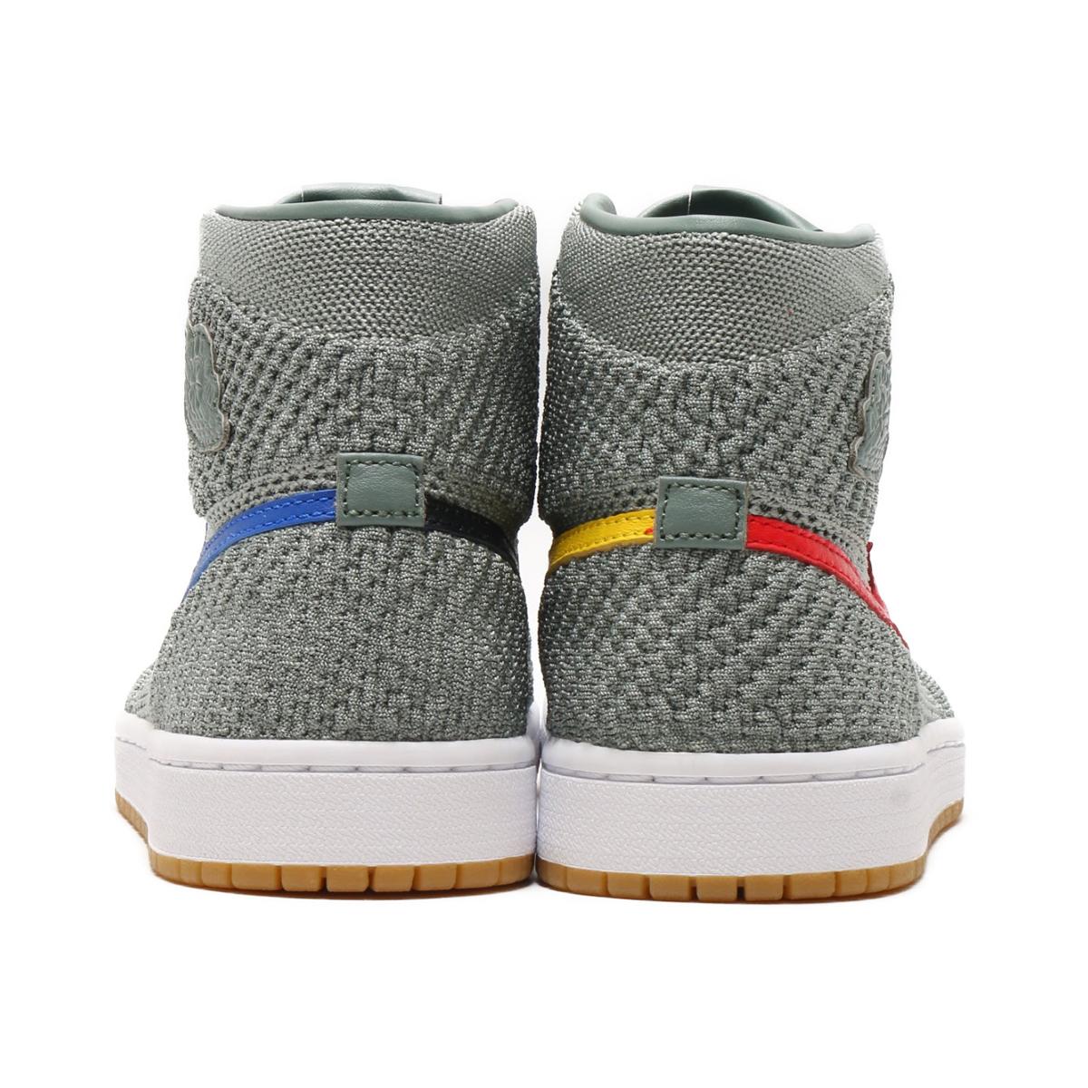 e7af8c72e76 NIKE AIR JORDAN 1 RET HI FLYKNIT BG (Nike Air Jordan 1 nostalgic high fried  food knit BG) (CLAY GREEN WHITE-HYPER COBALT-GUM YELLOW) 18SU-S