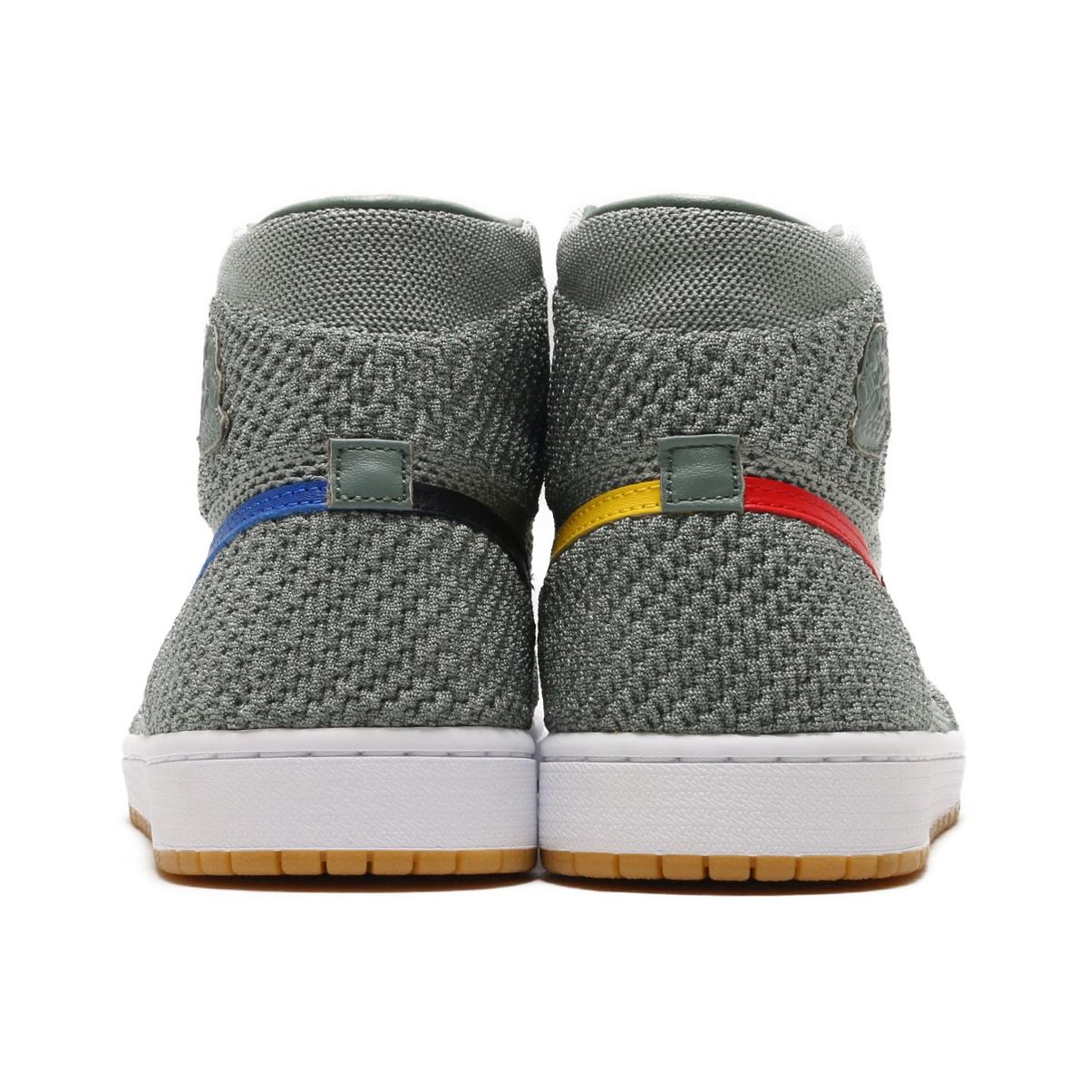 af9b67a04db4 NIKE AIR JORDAN 1 RETRO HI FLYKNIT (Nike Air Jordan 1 nostalgic high fried  food knit) (CLAY GREEN WHITE-HYPER COBALT-GUM YELLOW) 18SU-S