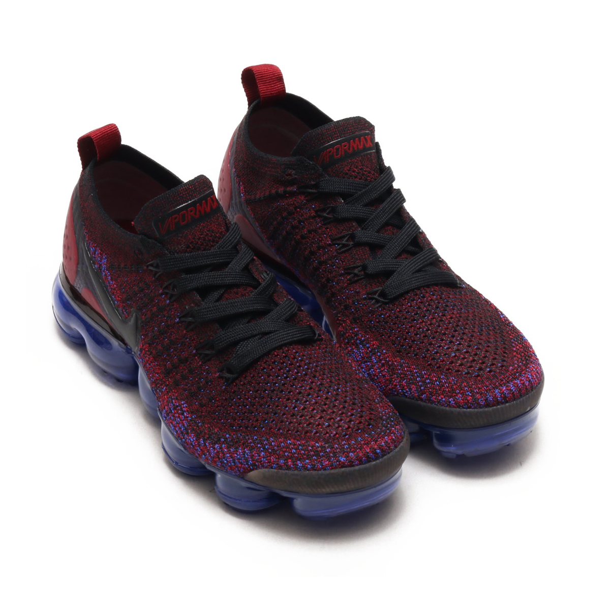 63c65352cc3f1 NIKE WMNS AIR VAPORMAX FLYKNIT 2 (Nike women air vapor max fried food knit 2)  (BLACK BLACK-TEAM RED-RACER BLUE) 18SU-S