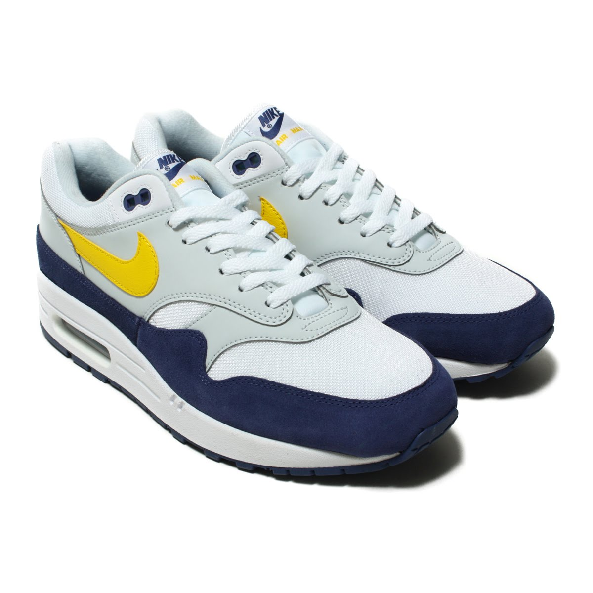 NIKE AIR MAX 1 (Kie Ney AMAX 1) (WHITE/TOUR YELLOW-BLUE RECALL) 18SU-I