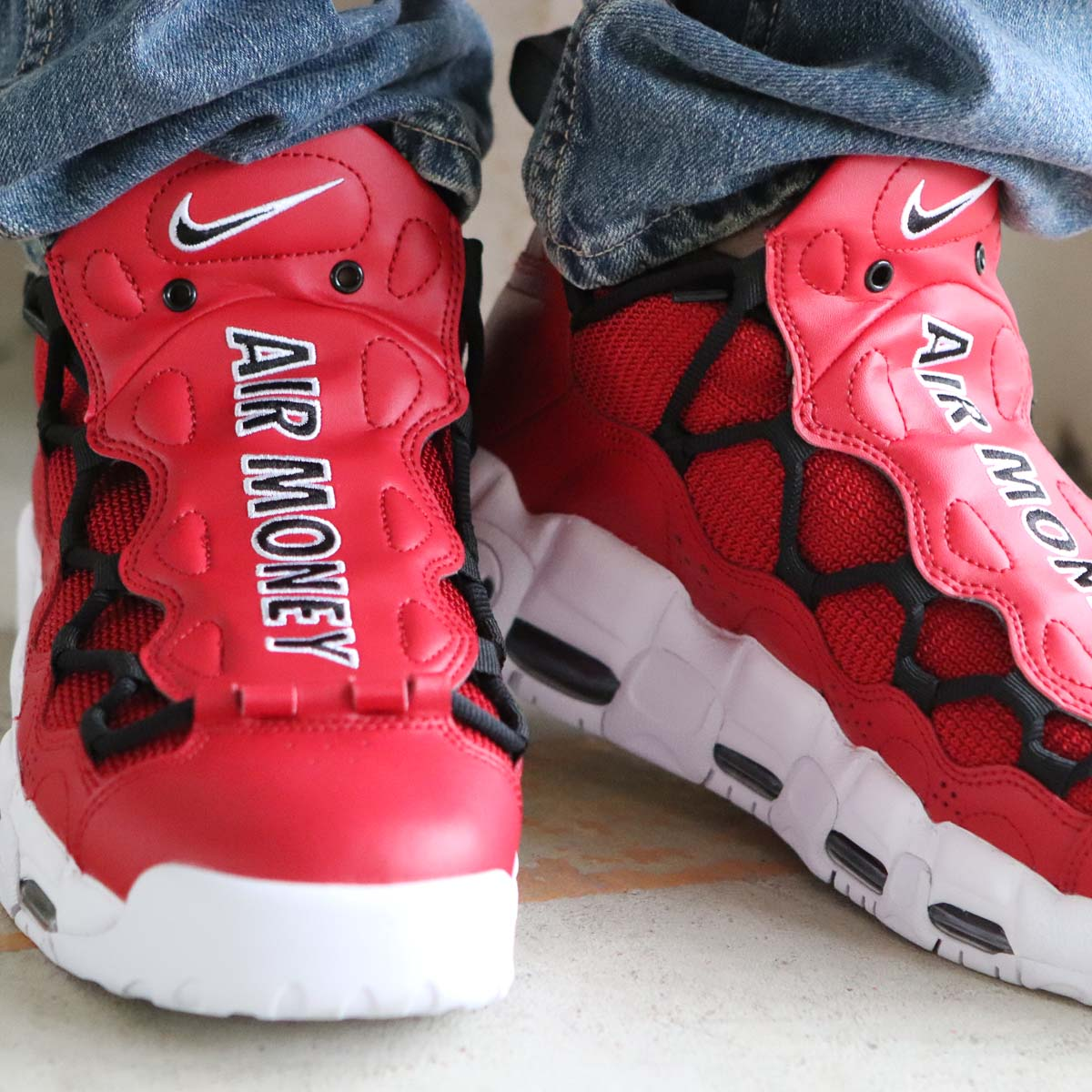 NIKE AIR MORE MONEY (ナイキ エア モア マネー) (GYM RED/BLACK-WHITE)18SU-S
